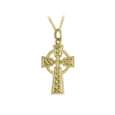 9K CELTIC CROSS PENDANT 15MM
