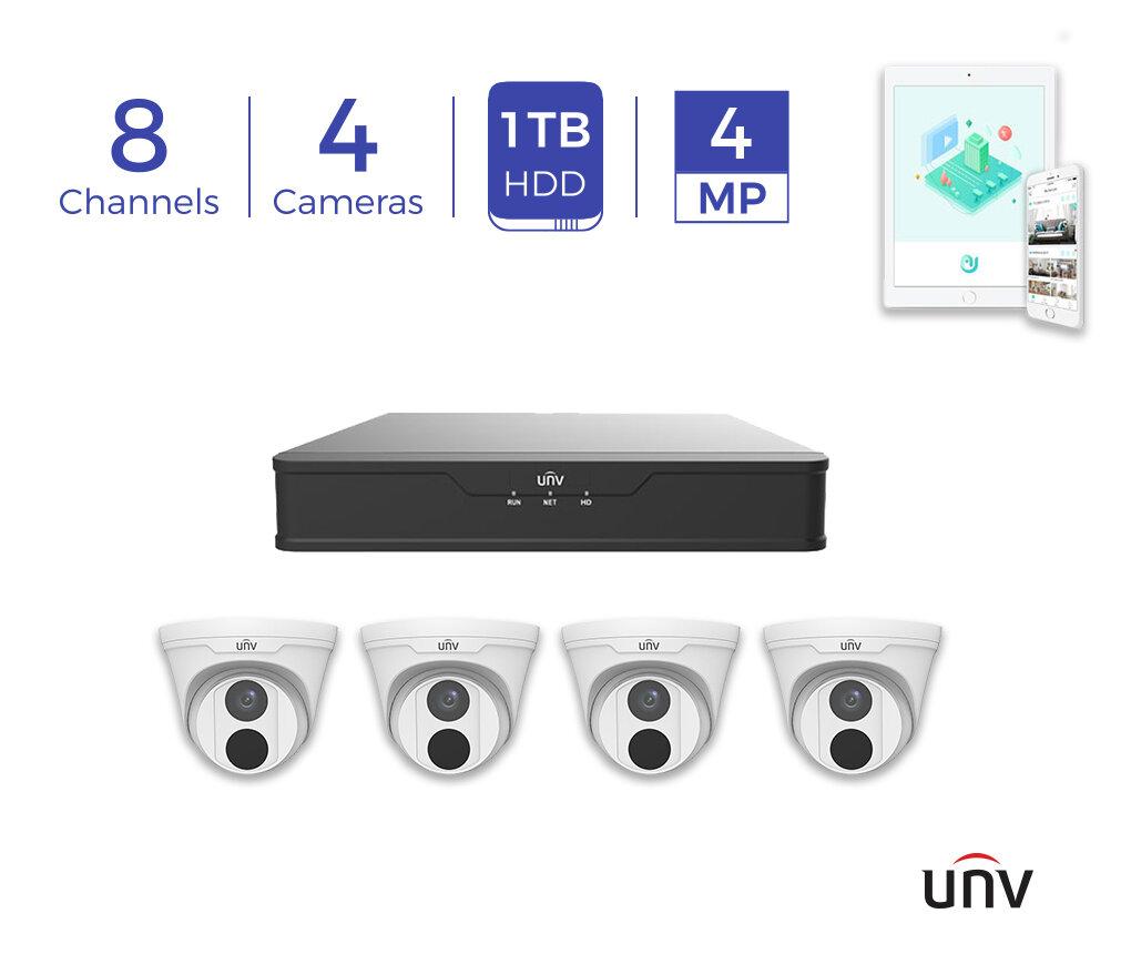 *1TB* UNV 8CH  PoE 4K NVR and 4 x 4MP Eyeball Turret Cameras