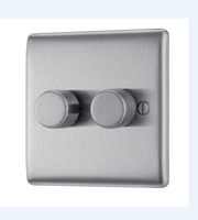 NEXUS BRUSHED STEEL 400W 2 GANG 2 WAY PUSH DIMMER