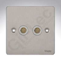 Flat Plate Stainless Steel 2G TV/FM COAX WH Insert|LV0701.0569
