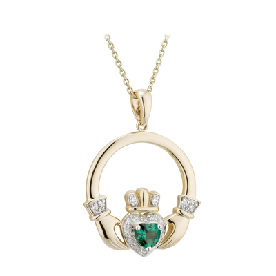 14K DIAMOND & EMERALD CLADDAGH PENDANT (BOXED)