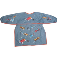 children's art apron with racing car design