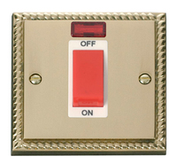 Click Deco Georgian Cast Brass with White Insert Small Cooker switch   LV0101.0067