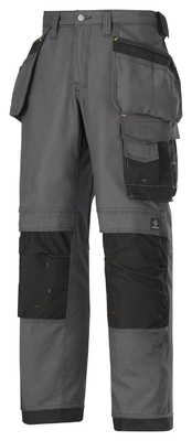 Snickers 3214 Craftsmen Holster Pocket Trousers, Canvas+ Steel Grey/Black