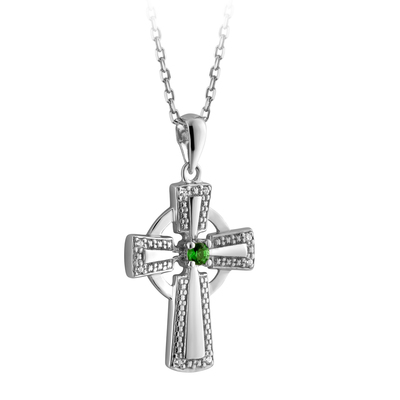 S/S CRYSTAL ILLUSION CELTIC CROSS PENDANT