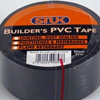 STUK 50 MM X 33 MTR BLACK BUILDERS PVC TAPE