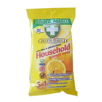 Green Shield Anti-Viral-Bacterial Bio Household Wipes 50pk
