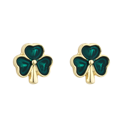 GOLD PLATED ENAMEL SHAMROCK STUD EARRINGS