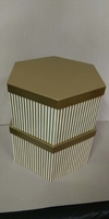HAT BOX GOLD STRIPE HEX SHAPE 30x13/28x11cm