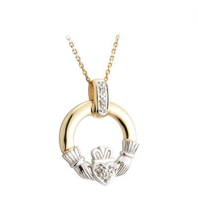 14K DIAMOND CLADDAGH TWO TONE
