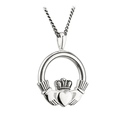S/S LARGE OXIDISED CLADDAGH PENDANT (BOXED)