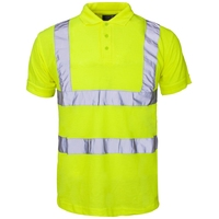 Supertouch Hi-Visibility Polo Shirt Yellow Collar & Cuffs, Yellow