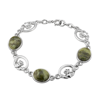 RHODIUM MARBLE CLADDAGH LINKED BRACELET