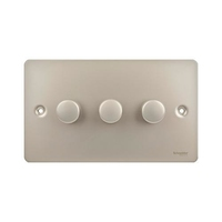 Switch Ultimate 3 Gang 2 Way LED Dimmer 75W/VA Stainless Steel