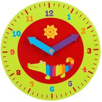 Wooden crocodile-themed teaching clock for kids