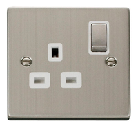 Click Deco Victorian Stainless Steel with White Insert Single switched Socket | LV0101.0107
