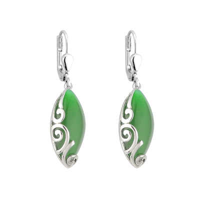 RHODIUM PLATED GREEN CAT EYE CELTIC DROP EARRINGS