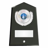 15cm Black Glass Pl & Silver Trim (V221S)
