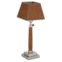 Pacific Lifestyle Tan Leather & Metal Square Table Lamp