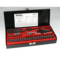 DELTEC SOCKET SET WITH 1/4'' DRIVER 45PCE