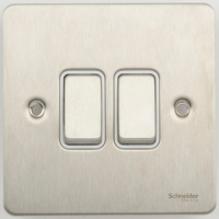 Flat Plate Stainless Steel 16AX 2G 2 Way SWITCH WHITE | LV0701.0076