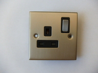13A 1 Gang SP Switch Socket INGOT Satin Chrome