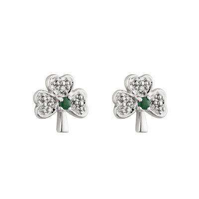 14k white gold diamond and emerald shamrock stud earrings s3977 from Solvar
