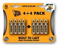 JCB Super Alkaline Batteries Size AA 8 Pack (4+4)