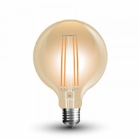 7w G95 LED Filament Bulb E27 Amber Glass 2200K