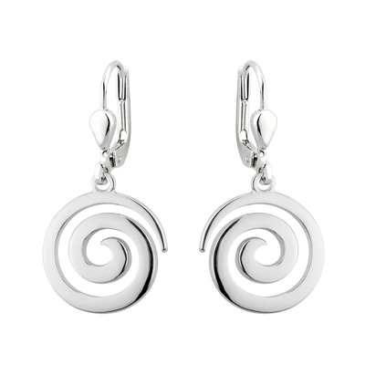 RHODIUM PLATED SWIRL DROP EARRINGS