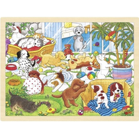 wooden jigsaw puzzle with puppies