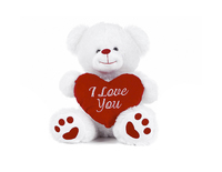 "BEAR 8""/20CM WHITE BEAR WITH HEART (1PC)"