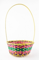 "BASKET 9"" ROUND YELL/PINK/PURP/GREEN 25X10CM"