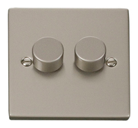 Click Deco Victorian Pearl Nickel 2 Gang 2 Way Dimmer | LV0101.0131