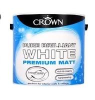 CROWN MATT EMULSION PAINT BRILLIANT WHITE 2.5 LTR