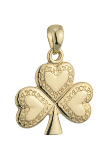 14k gold celtic engravement shamrock charm s8138 from Solvar