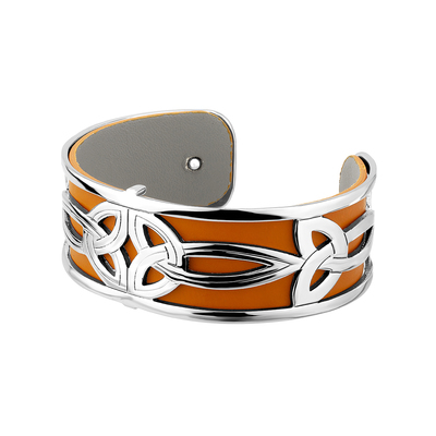 RHODIUM PLATED LEATHER DOUBLE TRINITY CUFF BANGLE