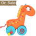 Wooden toddler giraffe push and roll toy - boxed