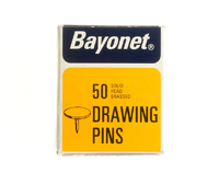 Bayonet Brass Plated Solid Head Drawing Pins (50) 10mm Head  - 10404