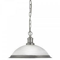 Bistro Satin Silver Pendant Light With Acid Glass Shade