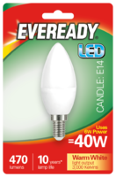 EVEREADY 6W (40W) E14 LED CANDLE 470 LUMENS