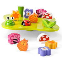 Children's wooden wobbly-garden balance game