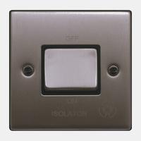 FEP Low Profile Satin Chrome 10a Fan Isolation Switch Black Insert Chrome Switch | LV0801.0007