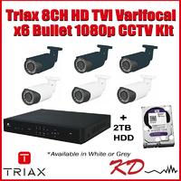 Triax 1080p 8CH Varifocal Bullet Kit - White