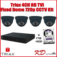 Triax 720p Dome 4 Channel CCTV Kit - Grey