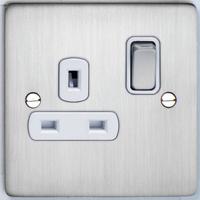 DETA Flat Plate 1gang Socket Satin Chrome with White Insert | LV0201.0188