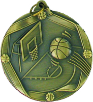60mm Antique Gold Basketball Medal
