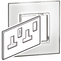 Arteor (British Standard) Plate (Twin Socket 13a 2g) Mirror White | LV0501.0172