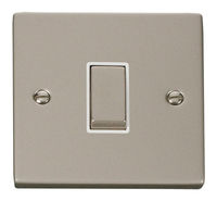 Click Deco Victorian Pearl Nickel with White Insert 1 Gang 2 Way 'Ingot' Switch | LV0101.0124
