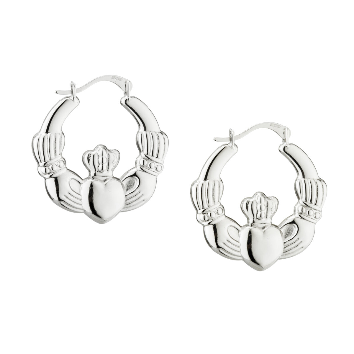 sterling silver claddagh creole medium earrings s3526 from Solvar